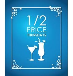 drinks floral blue background vector image