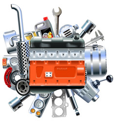 engine with truck spares vector image vector image