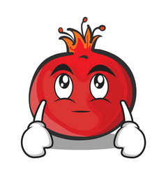 Eye roll face pomegranate cartoon character style vector