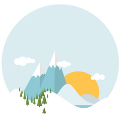 Flat design winter snowy landscape vector