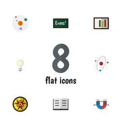 flat icon knowledge set of lightbulb theory of vector image vector image