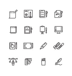 Graphic design and writing tools line icons set vector