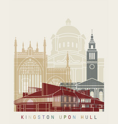 Kingston upon hull skyline poster vector