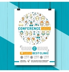 Medical poster of the conference and exhibition of vector image