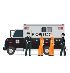 police station with police officer and police car vector image vector image