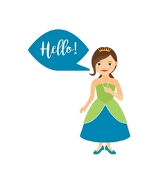 Princess with speech bubble for game vector image vector image