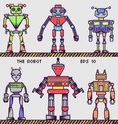 Retro Robot Collection vector image vector image