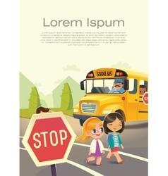 School bus stop back to school safety concept vector