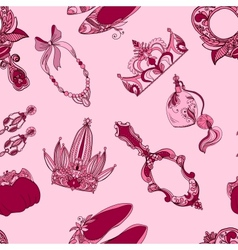 Seamless princess accessories vector image vector image