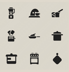 set of 9 editable cooking icons includes symbols vector image vector image