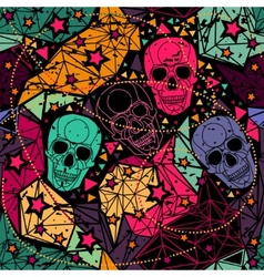 Skull with floral geometric ornament vector image vector image