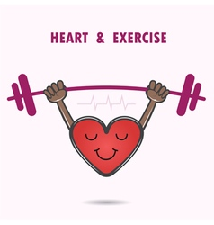 Smile heart shape with the barbell on background vector