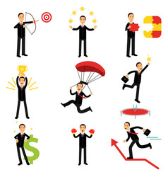 Successful businessman at work metaphor set of vector