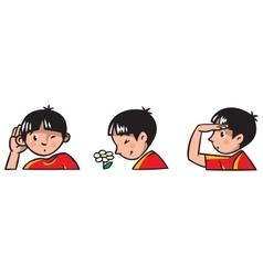 Three senses children of boy vector