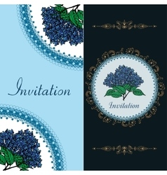 Two invitation card with spring blue hydrangea vector image vector image