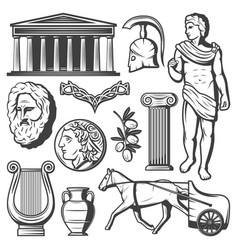 vintage ancient greece elements set vector image vector image