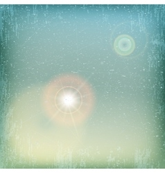 Vintage grunge sky background with sun flare - vector