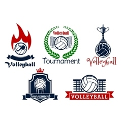 Volleyball sport game icons and symbols vector