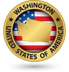 Washington state gold label with state map vector image vector image
