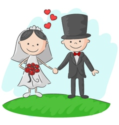 Wedding ceremony bride and groom vector