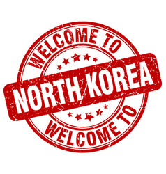 Welcome to north korea red round vintage stamp vector