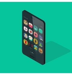 Smartphone isometric isolated on colorful vector