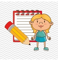 Kid with notebook and pencil isolated icon design vector