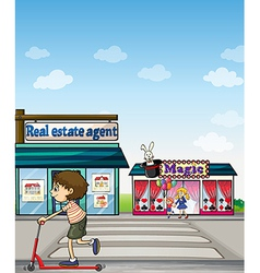 A boy riding a scooter near a real estate office vector image