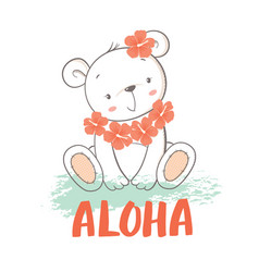 Little bear with hibiscus flowers vector