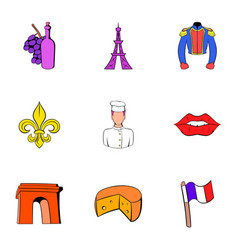 Eiffel tower icons set cartoon style vector