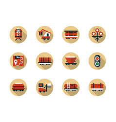 Train cargo shipment round flat beige icons vector