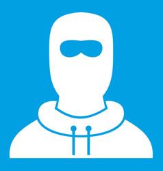 Man in balaclava icon white vector