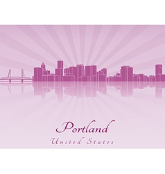 Portland skyline in purple radiant orchid vector