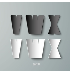 Paper graphic alphabet white and black vwx vector