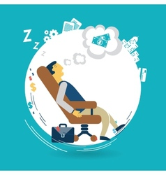 Businessman asleep at work vector