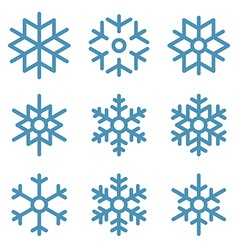 Set of nine snowflakes thin line ftat design vector