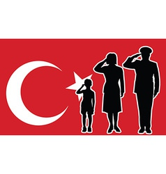 Turkey soldier family salute vector