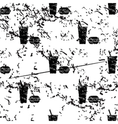 Fast food pattern grunge monochrome vector