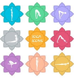 Yoga icons flat design vector