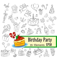 Birthday party sketch set vector