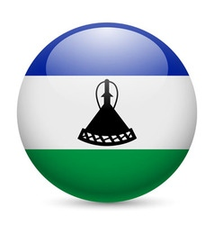 Round glossy icon of lesotho vector