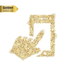 Gold glitter icon of the hand with the vector