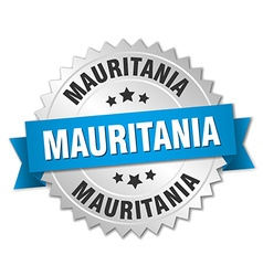 Mauritania round silver badge with blue ribbon vector