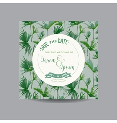 Tropical palm leaves wedding invitation card vector