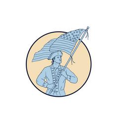 American patriot waving usa flag circle drawing vector