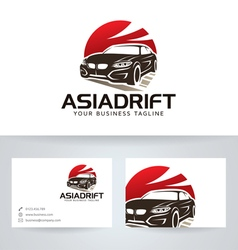 Asian Drift logo with business card vector image