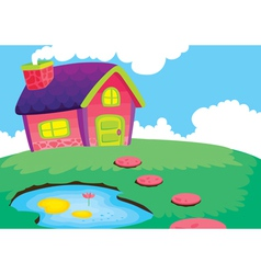 beautiful house and pond vector image