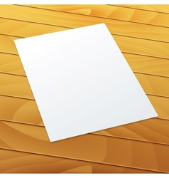 Blankempty A4 office paper on a wood background vector image
