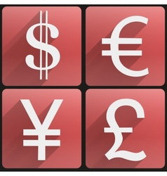 Business flat icons major currencies symbol vector image