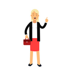 businesswoman cartoon character standing with vector image
